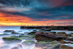 Sunrise over South Curl Curl (Bruce_Hood) Tags: ocean longexposure seascape water clouds sunrise rocks sydney australia nsw newsouthwales northernbeaches curlcurl brucehood