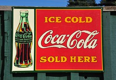 Ice cold coca cola sold here (D70) Tags: blue sky canada cold tree green ice sign fence island bottle bc cola cove mark sold here dec retro advertisement 25 bowen registered trade coca snug 1923 patd dec251923