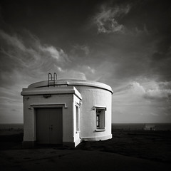 Generator Room (Andy Brown (mrbuk1)) Tags: light shadow cloud building window wales contrast square landscape mono blackwhite exposure dale round remote ladder pembrokeshire tone utilities circular cirrus outpost utilitarian twotankers