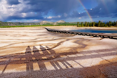 Shadows & Rainbows (pixelmama) Tags: clouds sunrise landscape shadows yellowstonenationalpark wyoming rainbows grandprismaticspring hcs midwaygeyserbasin thegoldenhour sapphirepool clichesaturday pixelmama yellowstoneseptember2012