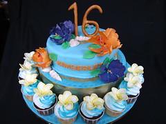 IMG_3001 (Celebrate With A Cake) Tags: shells cake luau malaysia hawaiian frangipani 16thbirthday fondant tropicalflowers wwwcelebratewithacakenet