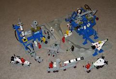Lego Space - Sets 462, 483, 6823, 6842, 6861, 6870, 6971 (InSapphoWeTrust) Tags: lego 6861 shuttlecraft 920 483 6870 462 6842 6823 897 legospace 6971 spaceprobelauncher surfacetransport alpha1rocketbase mobilerocketlauncher x1patrolcraft intergalacticcommandbase