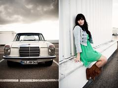 Saskia and her Car! (Tobias Urban) Tags: light portrait urban car fashion female canon mercedes benz diptych natural mark lifestyle ii 5d oldtimer tobias 35l