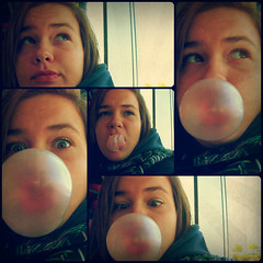 Day 27 - Bubble Gum Blow-Out - October 1, 2012 - Monday (Nikki Lyn) Tags: pink black cute girl collage gum out funny bubbles pop blow bubble