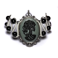 Steamgoth Bracelet - Black and Gray Skeleton Lolita portrait Cameo (Catherinette Rings Steampunk) Tags: silver skeleton skull wire punk gothic goth wrapped jewelry steam lolita bracelet cameo cybergoth steampunk steamteam steamgoth
