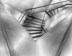 Geometries (Paco CT) Tags: madrid urban blackandwhite bw blancoynegro architecture stairs spain construction arquitectura geometry interior bn escalera explore staircase construccion inside urbano esp 2012 geometria caixaforum pacoct fsuro