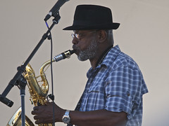 Roger Lewis almost profile; Dirty Dozen Brass Band in Mankato, MN.