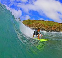 bottom turn (bluewavechris) Tags: ocean sea sun color water face fun hawaii surf ride action surfer wave maui cliffs saturation surfboard lip thebay swell honoluabay honolua