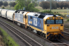 8128 & BL30 with a load of grain (Australian Trains) Tags: railroad station wales train photography track power diesel photos steel south transport australian tracks engine rail railway loco australia trains class steam corey transportation nsw locomotive standard gibson railways gauge freight locomotives railroads railpage railpage:class=47 railpage:livery=23