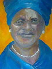 african shebeen queen (jaimsart) Tags: african shebeen queen original oil painting jaims art saatchi artslant instagram woman blue orange old pearls turban doek