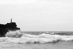 Defying the ocean (dellannadavide) Tags: tenerife ocean rocks sea waves nature wild blackandwhite blackwhite biancoenero canaryislands canary playa beach blacksand black people man manvsnature fight majesty awesome