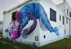 Lobsterman (steverichard) Tags: art graffito graffiti lobster surreal naval coast florida keywest keys bizarre danae usa weird odd blue