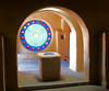 Chapel of Our Lady of Guadalupe (studioferullo) Tags: chapel church sanctuary architecture art beauty bright light building buildings classic colorful contemporary contrast design detail downtown geometry historic modern monument perspective pattern pretty serene texture town village window stainedglass round circle arch arches adobe albuquerque oldtown newmexico red blue gold ochre glow shadow shadows