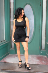 Black Dress, Green Door (California Will) Tags: edna latina beauty beautiful model hersoma bella sheer blackdress ybor florida fl