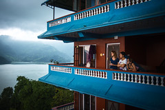 (the.redhead.and.the.wolf) Tags: rain fog summer architecture clouds nepal pokhara phewalake lake water blue lady ukrainian asia