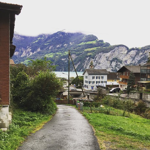 Bit rainy, but I made it to Sisikon in Switzerland on my road trip to Italy #switzerland #lake #roadtrip