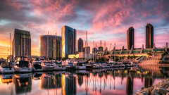 San Diego Aglow (Justin in SD) Tags: sunset color reflection sailboat marina marriott canon hotel bay coast harbor boat sandiego vibrant conventioncenter sail hyatt canon5d hdr sandiegobay sandiegoharbor sandiegomarina canon5dmarkiii 5d3 5dmark3