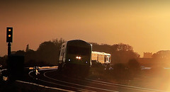Cork - Dublin Express - Kildare. (2c..) Tags: railroad ireland sunset sky dublin tree silhouette skyscape cork railway locomotive express signal railways irishrail kildare 5dmk2 72dpipreview lowresolutionpreview 2c