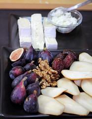 Cheese fruit platter (Adventuress Heart) Tags: cheese pears walnut brie dates platter figs fruitplatter