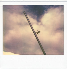 Man walking in the sky (Franco Rabazzo) Tags: color 120 film analog polaroid image integral instant mf spectra impossible documenta photoscan documenta13 impossibleproject pzcoolcolorshade