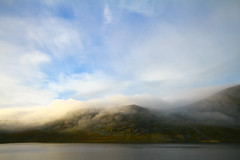 Morning mist (Pohjolan poika) Tags: morning blue sky nature clouds finland landscape dawn hill september lapland wilderness termisvaara ksivarsi termisjrvi