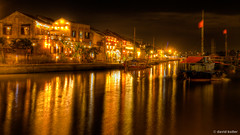 Hoi An Night (davidkoiter) Tags: street travel light motion blur reflection tourism water yellow night canon river eos boat long exposure low vietnam hoian reflect 7d l series nightlife f4 hdr 1740 2012 f4l koiter davidkoiter