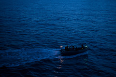 Sailors search for two recoverable exercise torpedoes. (Of