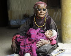 Old woman and the baby. Ladakh.Jammu kashmir.India (courregesg) Tags: people india festival women traditional kashmir himalaya ladakh femmes jammu ethnology korzok etnnic