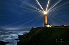 Lighthouse (Darvin Atkeson) Tags: ocean sanfrancisco california lighting longexposure santacruz lighthouse mist seascape fog night stars landscape coast pacific anniversary event bayarea pigeonpoint tallest darvin atkeson darv lighthousetrek liquidmoonlightcom lynneal lightkeeperaward
