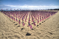 Never forgotten... (7even89) Tags: ocean blue red sea sky usa white beach santabarbara america sand 911 flags hdr westbeach inlovingmemory sigma1020 neverforgotten hdrextemes canon7d adraddicted
