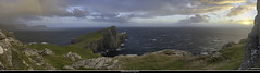 Neist Point Panorama (pDOTeter) Tags: sunset panorama sun lighthouse seascape skye landscape scotland rainbow europe isleofskye dramatic huge neistpoint gobnahist