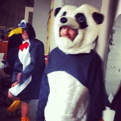 Brent Baltzer and Ryan Campbell as Google Penguin and Panda, at Amplify Interactive