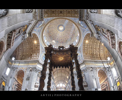 St Peter's Basilica in Vatican City, Rome, Italy :: HDR (Artie | Photography :: I'm a lazy boy :)) Tags: italy vatican stpeters rome art architecture photoshop canon painting catholic cathedral roman basilica structure ceiling fisheye altar dome handheld baroque bernini renaissance 15mm f28 ef hdr baldacchino stpetersbasilica vaticancity artie cs3 stpeterscathedral 3xp photomatix 1590 tonemapping tonemap giovannipaolopannini 5dmarkii 5dm2