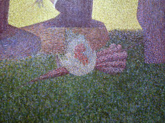 Seurat, A Sunday on La Grande Jatte—1884 detail with parasol