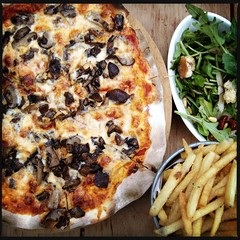 thin crust pizza + rockets + truffle fries. is rather awesome, if i might add :) (.  .) Tags: dinner phonecam sunday noflash pizza rockets trufflefries iphoneography dcfilm hipstamatic iphone4s janelens