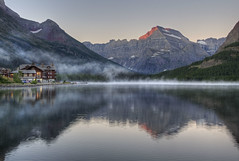 Morning Tranquility (dbushue) Tags: morning mist lake mountains fog sunrise nikon montana peaceful calm glaciernationalpark tranquil 2012 coth swiftcurrentlake manyglacier supershot absolutelystunningscapes d7000 damniwishidtakenthat coth5 dailynaturetnc12