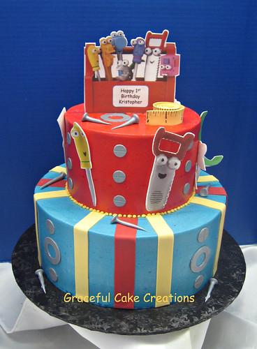 Enjoyable Handy Manny 1St Birthday Cake A Photo On Flickriver Birthday Cards Printable Inklcafe Filternl