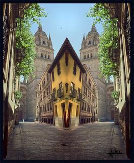 Calle salmantina en espejo