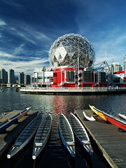 Telus World of Science (dons projects) Tags: ocean city blue autumn red sea sky cloud sun seascape canada building water skyline vancouver clouds buildings boats pier boat downtown cityscape warf bc waterfront cityscapes sunny bluesky olympus canadian canoe september dome falsecreek seashore zuiko vancouverbc dragonboats 2012 scienceworld telus cityscene e500 telusworldofscience zd 1445mm photoscape cans2s donsprojects