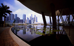 A Cultural Treasure (BrightStar Photography) Tags: longexposure architecture singapore cityscape wideangle sigma1020mm singaporeskyline marinabaysands canon7d artsciencemuseum