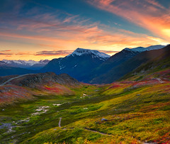 Painter's Dream (Ania.Photography) Tags: travel autumn light sunset sky usa cloud color fall nature field season landscape photography evening moss day view place tranquility snowcapped valley dreamy layers majestic scenics mountainrange chugach thompsonpass mountainridge traveldestinations chugachstatepark mountainpeak beautyinnature physicalgeography beautiufl abigfave alaskausastate