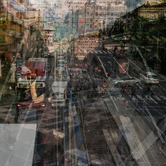 Dagens foto - 362: Street Parade (petertandlund) Tags: street city autumn people urban color cars buildings square sweden stockholm streetphotography 365 sthlm 08 multiexposure norrmalm duobleexposure 362365