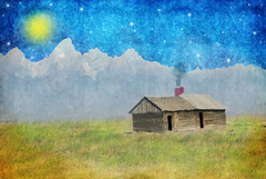 Guest House (Cat Girl 007) Tags: usa house mountains grass painted textures lonelyplanet wyoming grandtetons whimsical mormonrow distressedjewell photographymypassion
