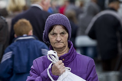 It's in the bag! (Frank Fullard) Tags: street portrait horse mystery lady purple candid fair cap ballinasloe knitwear fullard frankfullard