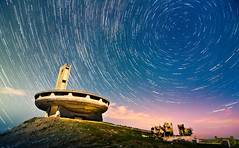 Golden lines in Buzludzha (inhiu) Tags: light sky lightpainting heritage abandoned monument night painting landscape concrete star long exposure decay dream dramatic surreal ufo communist communism trail bulgaria memory romantic moved unreal storms derelict epic destroyed strobe ruined shipka kazanluk buzludzha buzludja inhiu forgetyourpast