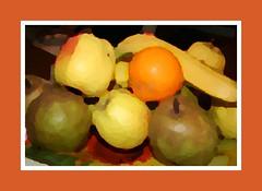 IMG_6976 -  oil fy - (molovate) Tags: fun arte quadro banana frutta cornice olio mela stillllife arancia tela divertimento naturamorta pera visualizzazioni volate tafme molovate 250000visit 250000visite