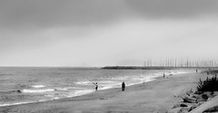 Late afternoon fishing... (epicture's (more off than on)) Tags: sea bw beach fishing fisherman mediterraneo bn 2012 vilassardemar 1852 mybeach