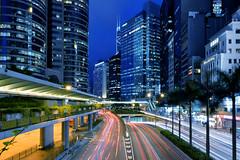 Night in central Hong Kong (ys.khoo) Tags: light lighttrail urban night nightscape evening