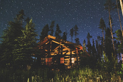Cabin at midnight - Big Sky, Montana (- Anthony Papa -) Tags: anthony papa photos grass green tumblr vintage matte film digital amazing depth composition canon5dmkii 24105mm water blue sky clouds rural nature landscape photography digitalrev white art travel stars galaxy space longexposure