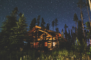 Cabin at midnight - Big Sky, Montana